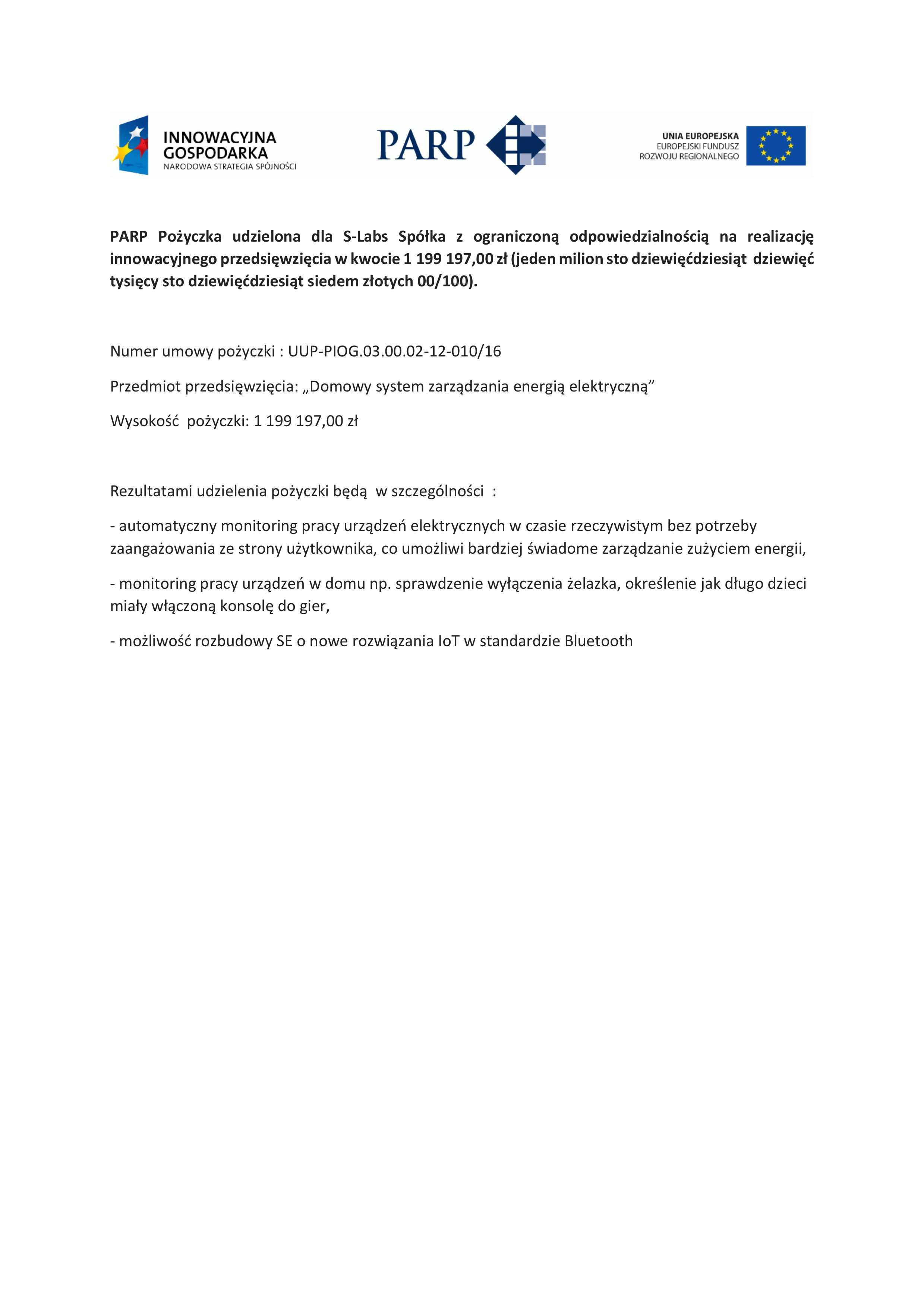 PARP Pożyczka - str internet